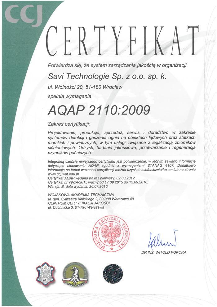 CCJ Certyfikat 797/A/2015 ważne do 16.09.2018 r.