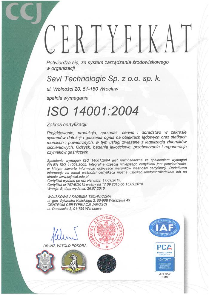 CCJ Certyfikat 797/E/2015 ważne do 16.09.2018 r.