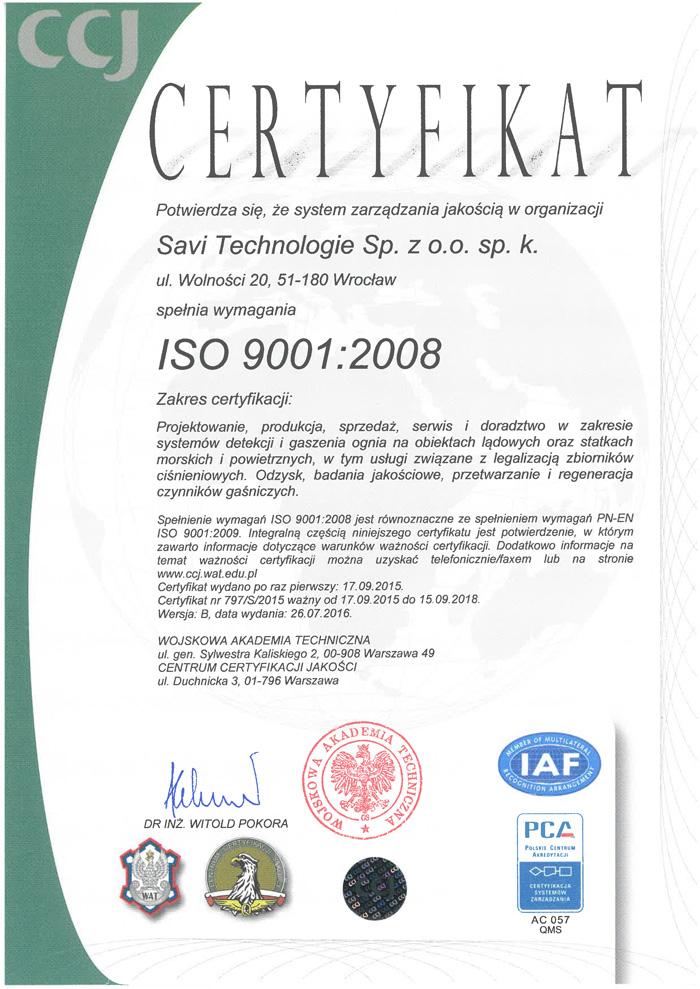 CCJ Certyfikat 797/S/2015 ważne do 16.09.2018 r.