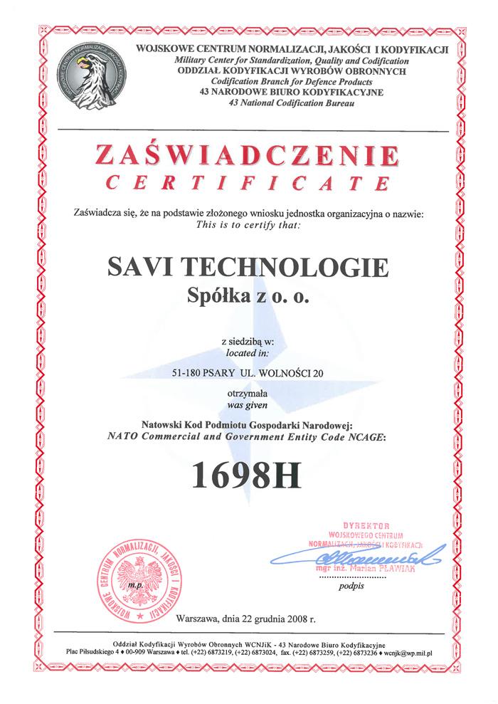Narodowe Biuro Kodyfikacyjne - Natowski Kod Podmiotu 1698H