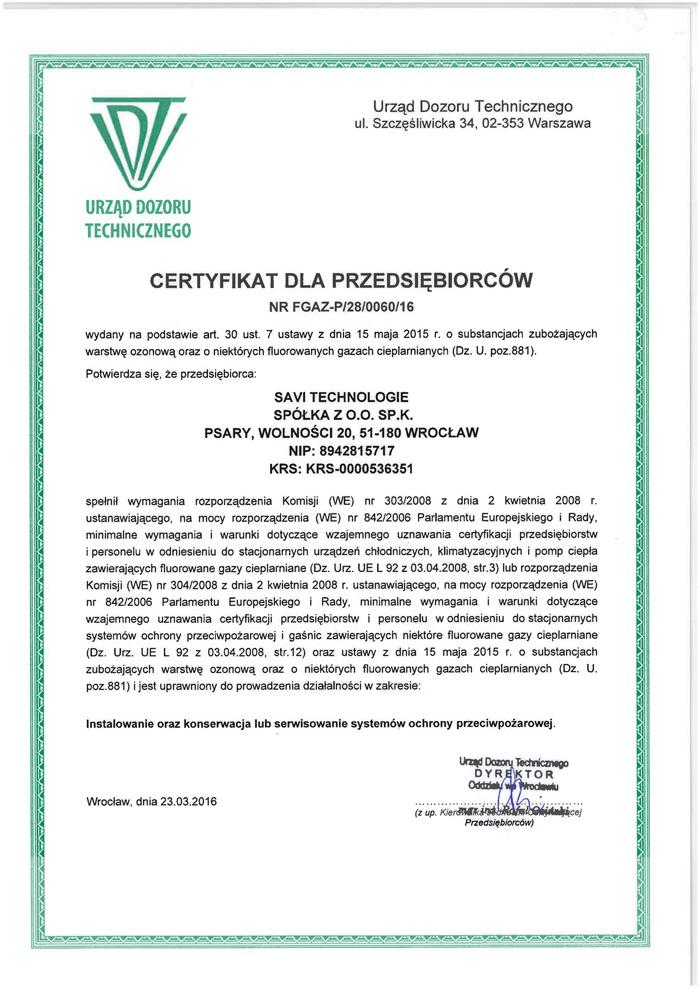 UDT - F-gazy Certyfikat dla przedsiębiorców